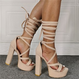 Ericdress Chunky Heel Lace-Up Round Toe Beige Women's Sandals