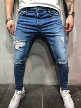 Ericdress Pencil Pants Worn Thin Mid Waist Zipper Men's Jeans