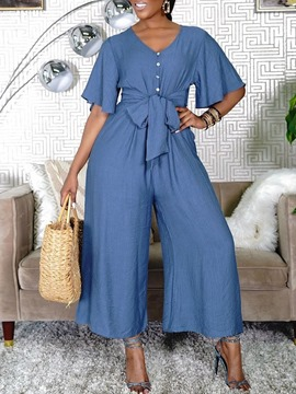 Ericdress Vintage Plain Ankle Length Wide Legs Loose Women's Jumpsuit