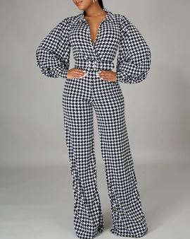 Ericdress Houndstooth Fashion Full Length Loose Straight Women's Jumpsuit