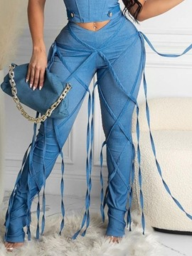 Ericdress Plain Tassel Pencil Pants Women's Slim Jeans
