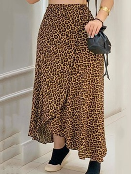 Ericdress A-Line Leopard Ankle-Length Women's Casual Mid Waist Skirt