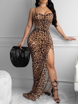 Ericdress Floor-Length Sleeveless Split Leopard Pullover Dress