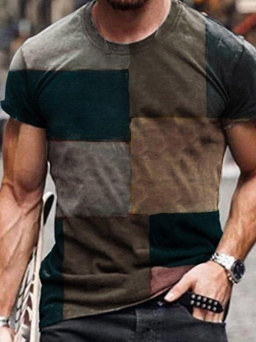 Ericdress Print Plaid Casual Slim Short Sleeve Men's T-shirt