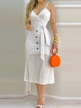 Ericdress Mid-Calf Sleeveless V-Neck Pullover Lace-Up Dress