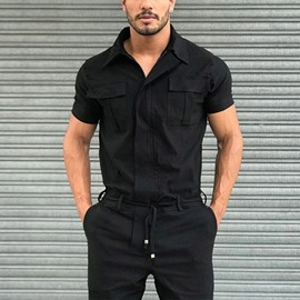 Ericdress Pocket Full Length Straight Men's Jumpsuits/Overalls