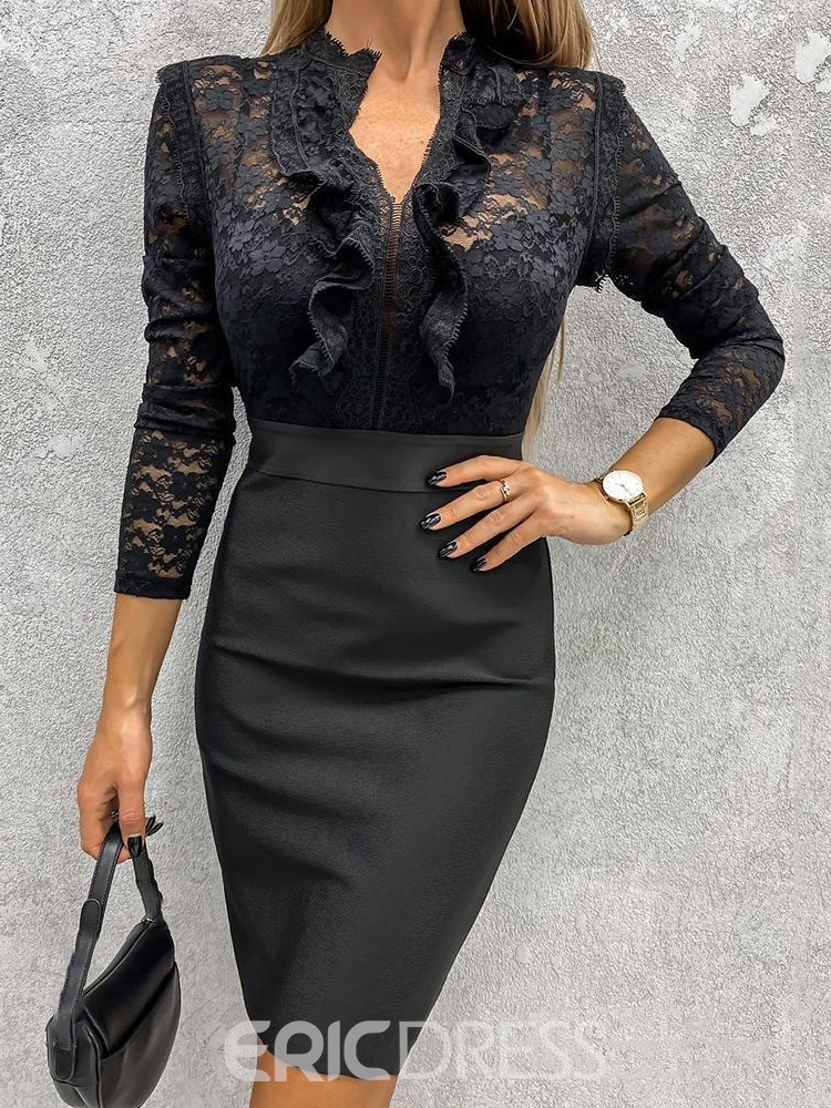 Ericdress Three-Quarter Sleeve Above Knee Lace Sexy Dress
