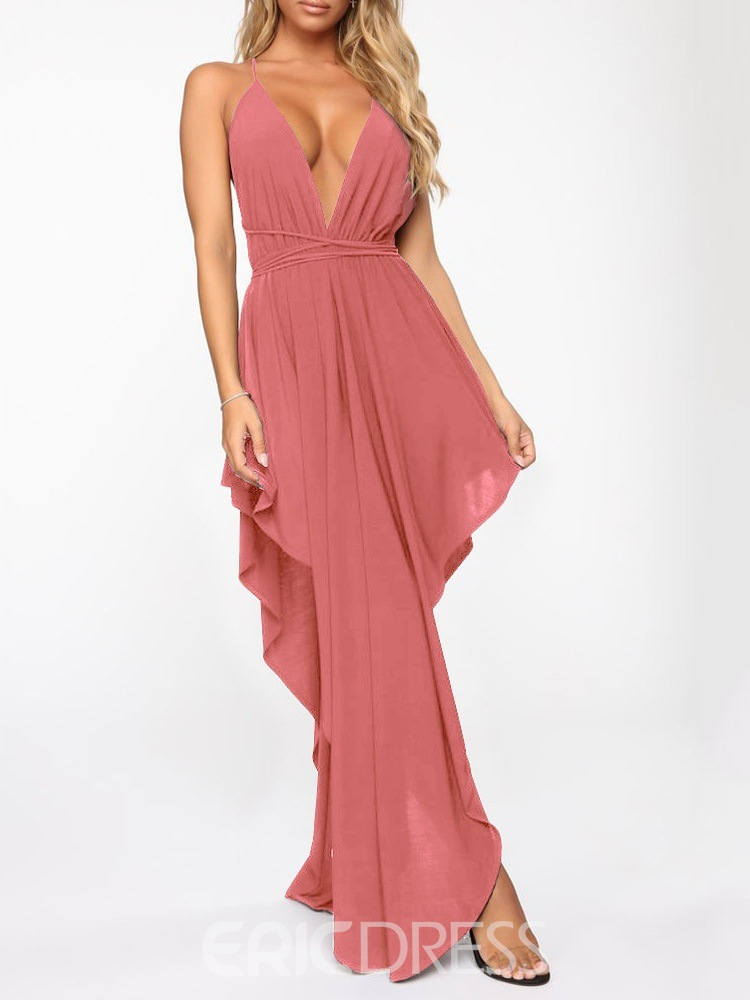 Ericdress Sleeveless Asymmetric Floor-Length Plain Dress