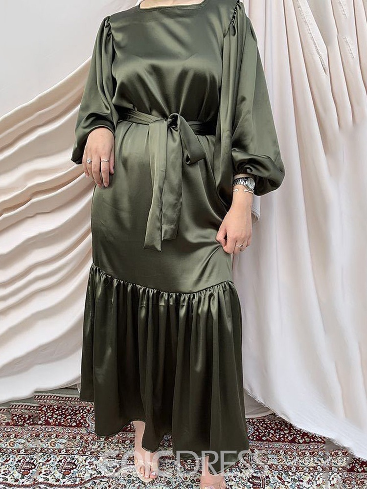 Ericdress Mid-Calf Lace-Up Nine Points Sleeve A-Line Pullover Dress