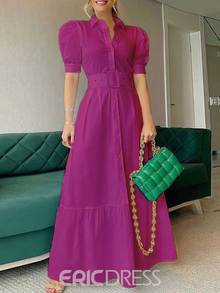 Ericdress Lapel Floor-Length Button Single-Breasted A-Line Dress