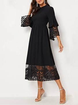 Ericdress See-Through Mid-Calf Three-Quarter Sleeve A-Line Pullover Dress