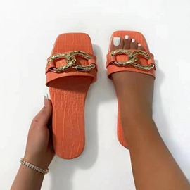 Ericdress Flip Flop Chain Flat With PVC Slippers