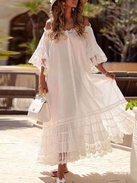 Ericdress Three-Quarter Sleeve Lace Ankle-Length Fashion Plain Dress