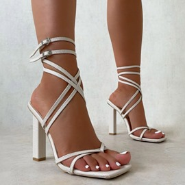 Ericdress Square Toe Chunky Heel Buckle Western Women's Sandals