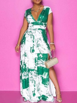Ericdress Floor-Length Print V-Neck Fashion Dress