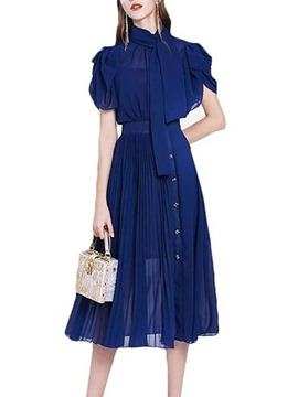 Ericdress Mid-Calf Short Sleeve Button Pleated Pullover Dress