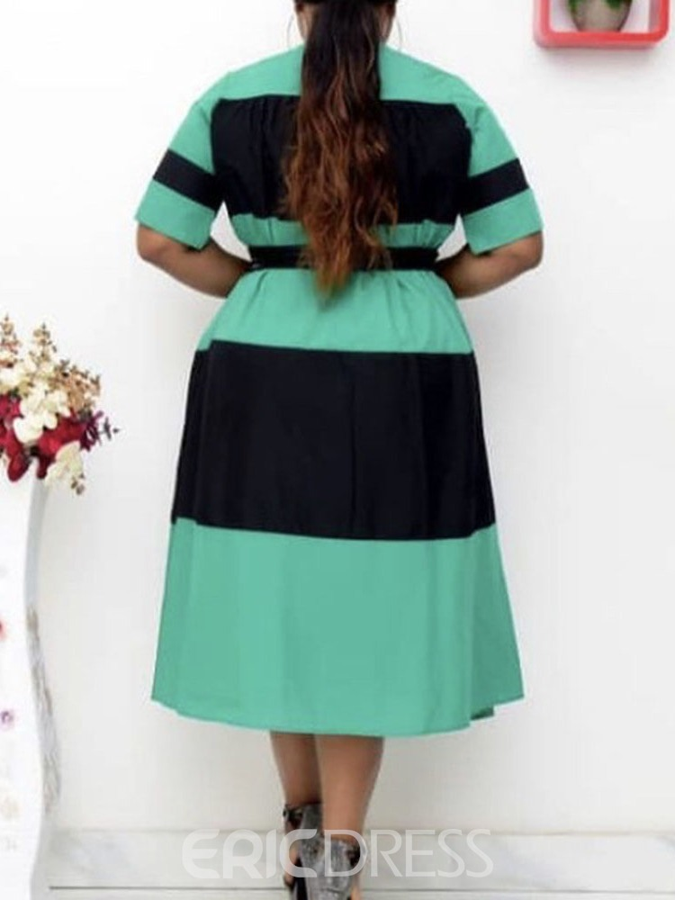 Ericdress Mid-Calf Patchwork Round Neck Pullover Color Block Dress