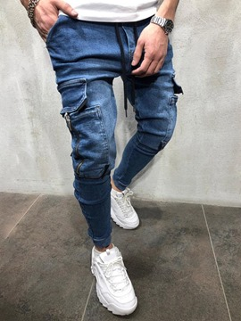 Ericdress Plain Pocket Pencil Pants Lace-Up Men's Jeans