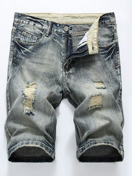 Ericdress Hole European Mid Waist Men's Denim Shorts