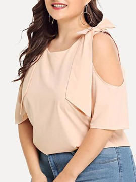 Ericdress Plain Hollow Round Neck Standard Half Sleeve Women's Blouse