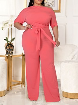 Ericdress Western Plain Lace-Up Straight Loose Women's Jumpsuit