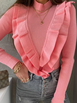 Ericdress Thin Patchwork Stand Collar Long Sleeve Women's Sweater