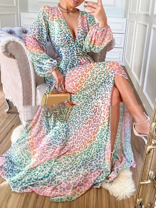Ericdress V-Neck Long Sleeve Print Casual Expansion Dress
