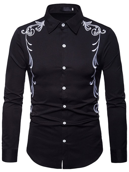 Ericdress Lapel Embroidery Slim Single-Breasted Men's Shirt