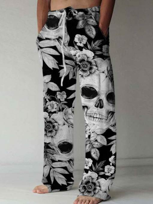 Ericdress TikTok Straight Skull Casual Lace-Up Casual Pants