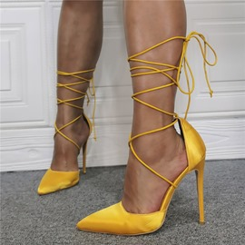 Ericdress Lace-Up Pointed Toe Cross Strap Ultra-High Heel(≥8cm) Women's Thin Shoes