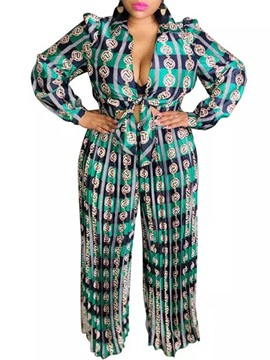 Ericdress Print Pants Office Lady Straight Women's Two Piece Sets