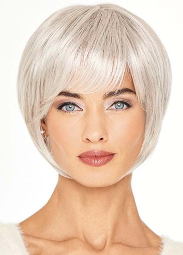 Ericdress Women's Short Cut Bob Hairstyles Blonde Color Straight Human Hair Capless Wigs With Bangs 8Inch