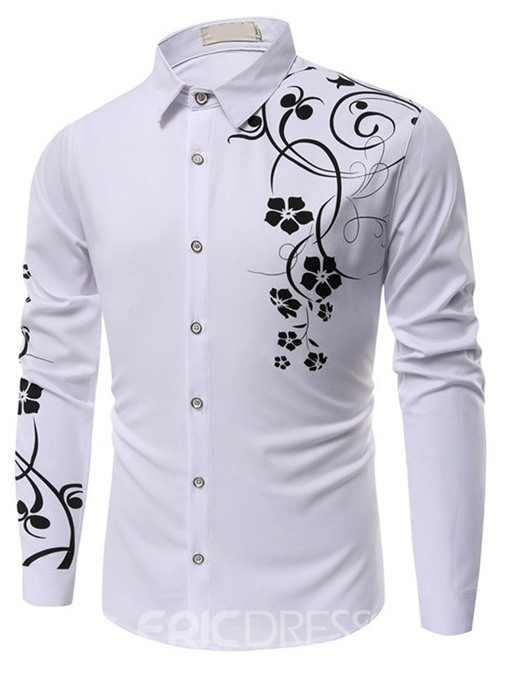 Ericdress Floral Print Casual Slim Single-Breasted Men's Shirt