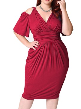 Ericdress Mid-Calf V-Neck Pleated Bodycon Pullover Dress Plus Size
