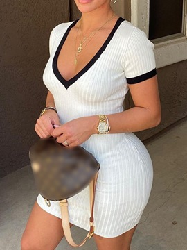 Ericdress Patchwork Above Knee V-Neck Bodycon Pullover Dress