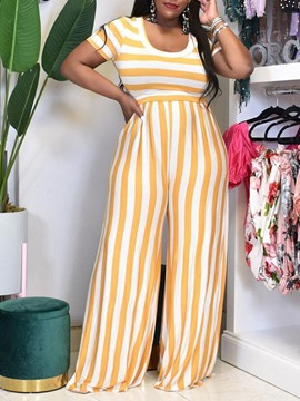 Ericdress Pants Casual Stripe Pullover Wide Legs Women's Two Piece Sets