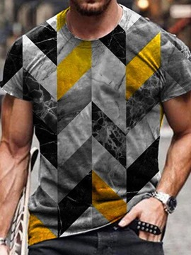 Ericdress Round Neck Color Block Print Short Sleeve Men's Slim T-shirt