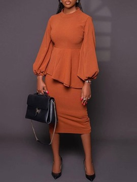 Ericdress Pleated Western Shirt Bodycon Straight Women's Two Piece Sets
