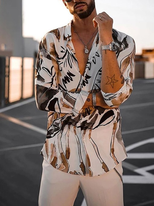 Ericdress Button Lapel Plant Single-Breasted Men's Shirt