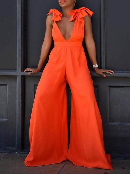 Ericdress Plain Sexy Full Length Wide Legs Loose Women's Jumpsuit