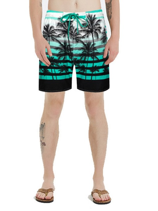 Ericdress Plant Lace-Up Straight Men's Beach Shorts