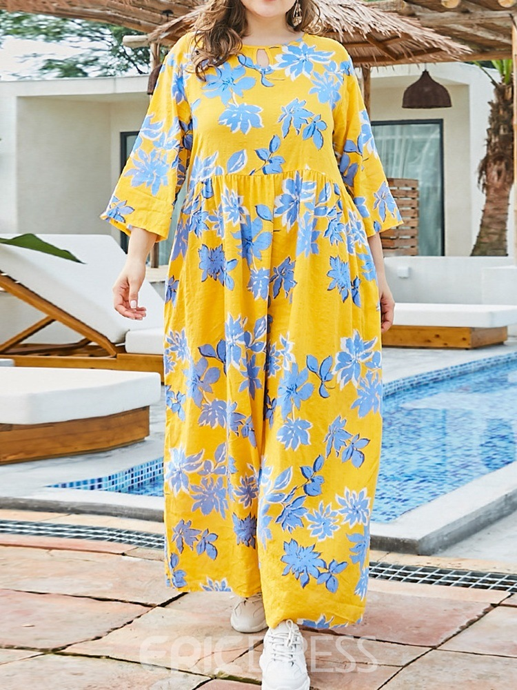 Ericdress Ankle-Length Round Neck Print Pullover Floral Dress