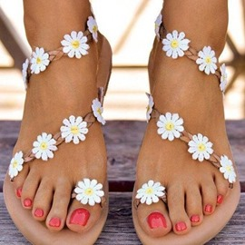 ericdress slip-on toe ring flat with floral sandalias de mujer