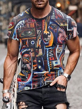 Ericdress Print Round Neck Short Sleeve Men's Slim T-shirt