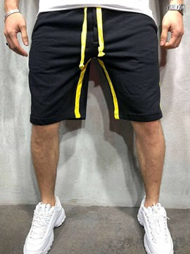 Ericdress Lace-Up Straight Stripe Mid Waist Men's Casual Shorts