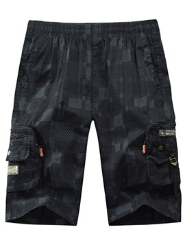 Ericdress Plaid Pocket Straight Lace-Up Men's Casual Pants