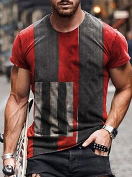 Ericdress Color Block Round Neck Short Sleeve Men's Casual T-shirt