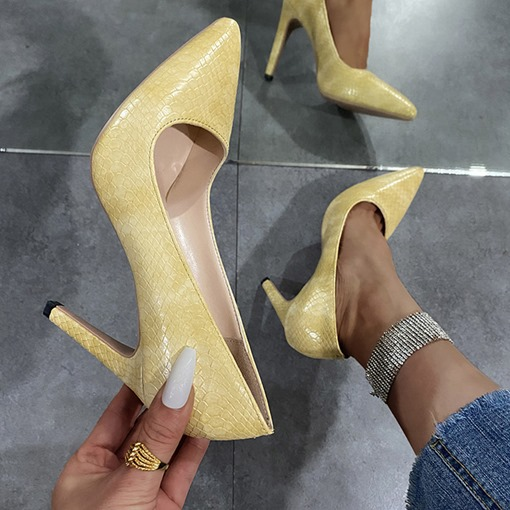 Ericdress Slip-On Pointed Toe Alligator Pattern Simple Thin Heels