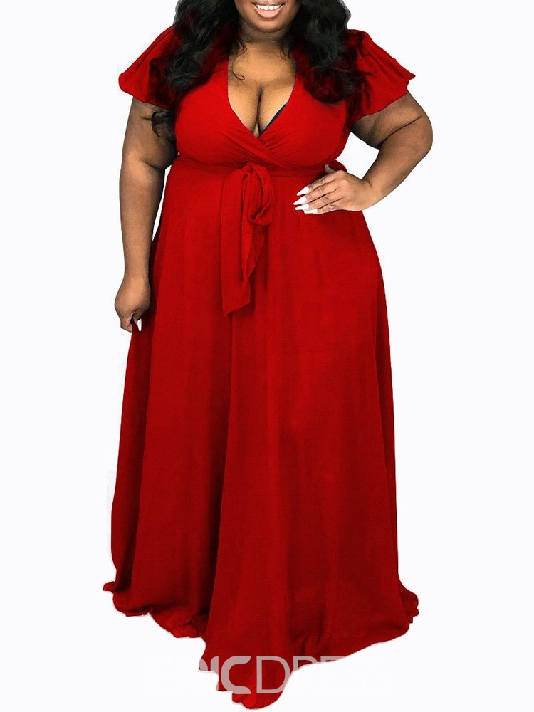 Ericdress Lace-Up Short Sleeve V-Neck Expansion Pullover Dress Plus Size