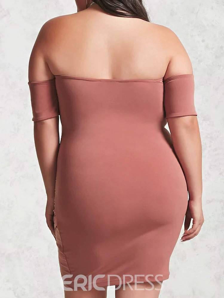 Ericdress Short Sleeve Above Knee Backless Bodycon Dress Plus Size